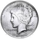 UNITED STATES Silver Coin 1924 PEACE DOLLAR
